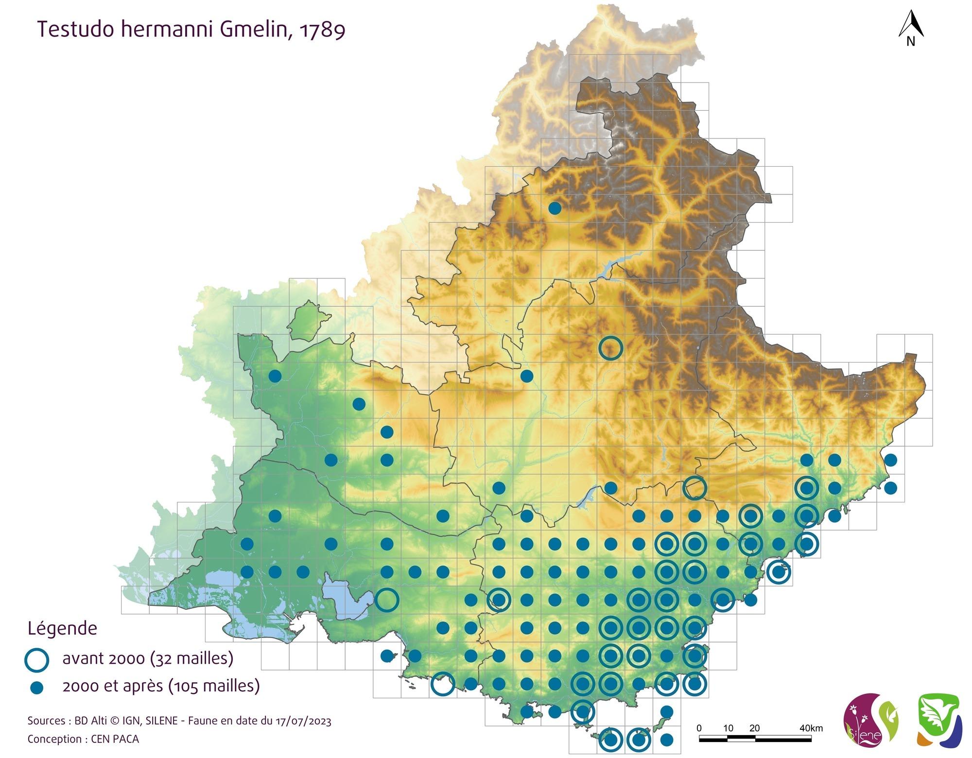 Carte de répartition de la Tortue d'Hermann Testudo hermanni en Région PACA