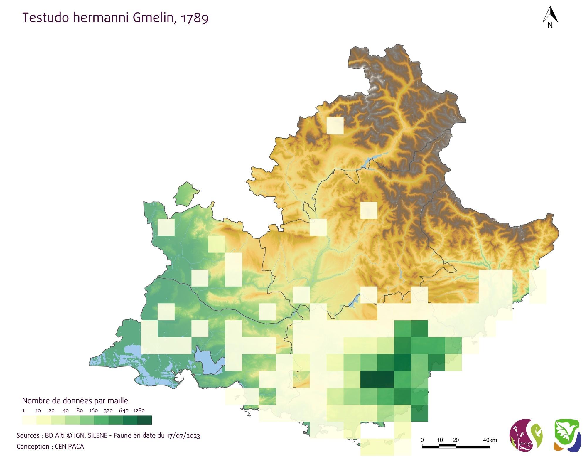 Carte de densité par mailles 10km